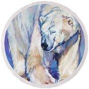 Great White Bear Round Beach Towel by Mark Adlington