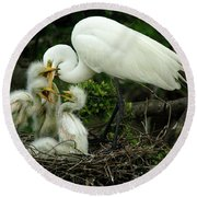 Majestic Great White Egret High Island Texas 9 Round Beach Towel by Bob Christopher