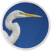 Great White Heron Round Beach Towel