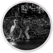 Great White Heron Round Beach Towel