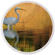 Great White On Gold Round Beach Towel
