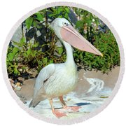 Great White Pelican Round Beach Towel