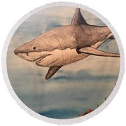 Great White Shark Round Beach Towel