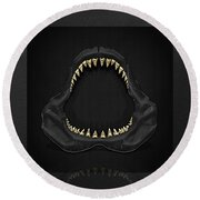 Great White Shark Jaws With Gold Teeth  Round Beach Towel