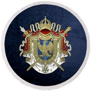 Greater Coat Of Arms Of The First French Empire Over Blue Velvet Round Beach Towel