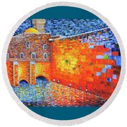 Round Beach Towel featuring the painting Wailing Wall Greatness In The Evening Jerusalem Palette Knife Painting by Georgeta Blanaru