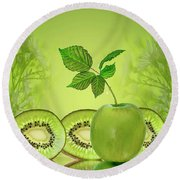 Greeeeeen Round Beach Towel by Shirley Mangini