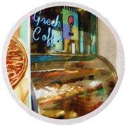 Greek Coffee Round Beach Towel