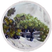 Greek Grapes Round Beach Towel