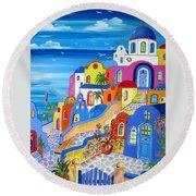 Greek Islands Fantasy Village Santorini Round Beach Towel
