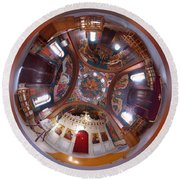 Greek Orthodox Church Interior Round Beach Towel