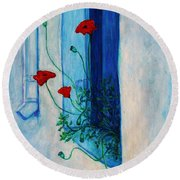 Round Beach Towel featuring the painting Greek Poppies by Xueling Zou
