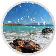 Greek Surf Spray Round Beach Towel
