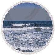 Greek Waves - 2 Round Beach Towel