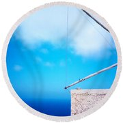 Greek Windmill Round Beach Towel