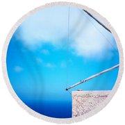Greek Windmill Round Beach Towel by Silvia Ganora