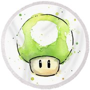 Green 1up Mushroom Round Beach Towel