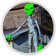 Green Alien Space Creature Round Beach Towel by Garry Gay