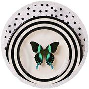 Green And Black Butterfly On Plate Round Beach Towel