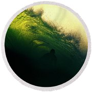 Green And Black Round Beach Towel