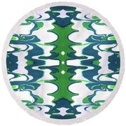Green And Blue Swirl- Art By Linda Woods Round Beach Towel