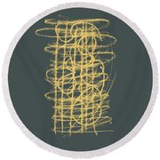 Green And Gold 1 Round Beach Towel