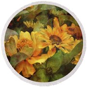 Green And Gold 1068 Idp_2 Round Beach Towel