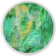 Green And Gold Abstract Round Beach Towel