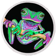 Green And Pink Frog Round Beach Towel