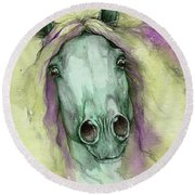 Green And Yellow Horse Round Beach Towel