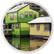 Green And Yellow Houses Round Beach Towel