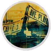 Green And Yellow Street Sign Round Beach Towel