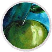 Round Beach Towel featuring the painting Green Apple by Jolanta Anna Karolska