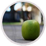 Green Apple- Photography By Linda Woods Round Beach Towel
