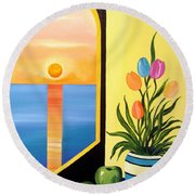 Green Apples Still Life Round Beach Towel
