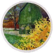 Round Beach Towel featuring the painting Green Barn by Hailey E Herrera