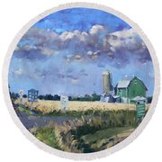 Green Barn In Glen Williams On Round Beach Towel by Ylli Haruni