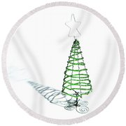Green Bead Christmas Tree II Round Beach Towel