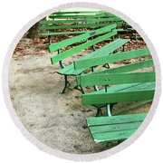 Green Benches- Fine Art Photo By Linda Woods Round Beach Towel by Linda Woods