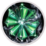 Green Beryl Crystals In Space Round Beach Towel