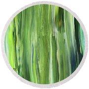 Green Blue Organic Abstract Art For Interior Decor Iv Round Beach Towel