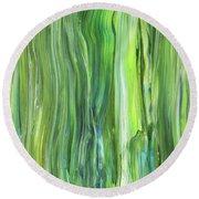 Green Blue Organic Abstract Art For Interior Decor V Round Beach Towel