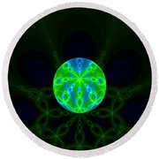Green Blue World Fractal  Round Beach Towel