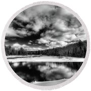 Round Beach Towel featuring the photograph Green Bridge Solitude by David Patterson