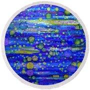 Green Bubbles In A Purple Sea Round Beach Towel