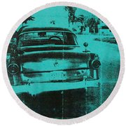Green Car Round Beach Towel