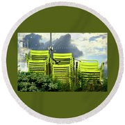 Green Chairs. Round Beach Towel
