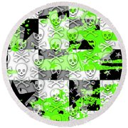 Green Checker Skull Splatter Round Beach Towel