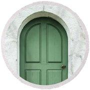 Green Church Door Iv Round Beach Towel by Helen Northcott
