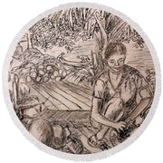 Green Coconut Cafe. Round Beach Towel